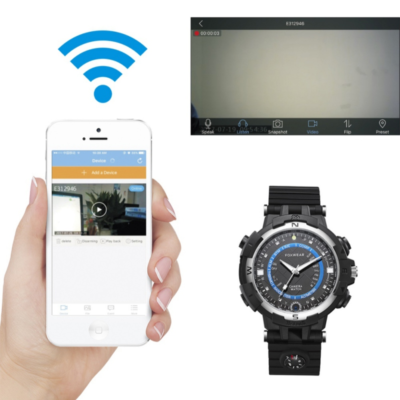 Wireless WIFI Smart Watch with Camera HD Security Camera Loop Video Recorder Nanny Camera APP Operation Waterproof Watch