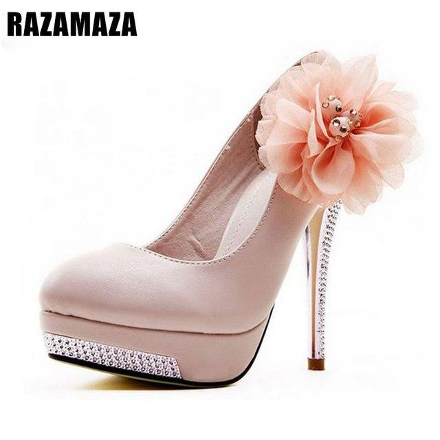 5b3ea8f0d7 Tamanho 35-43 escarpim Mulheres de Salto Alto Sapatos de Casamento Flor De  Noiva Plataforma