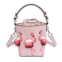 Brand Fashion Show Bag Women Bags PU Leaather Female Flamingo Bucket bag Women Shoulder Bags Designer Handbags  XS 92