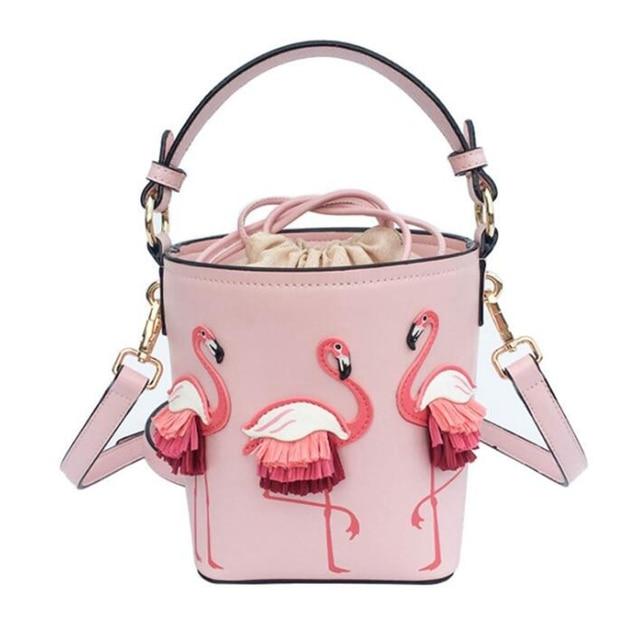 ブランドのファッションショーの女性のバッグ pu leaather 女性フラミンゴバケットバッグ女性のショルダーバッグデザイナーハンドバッグ XS 92