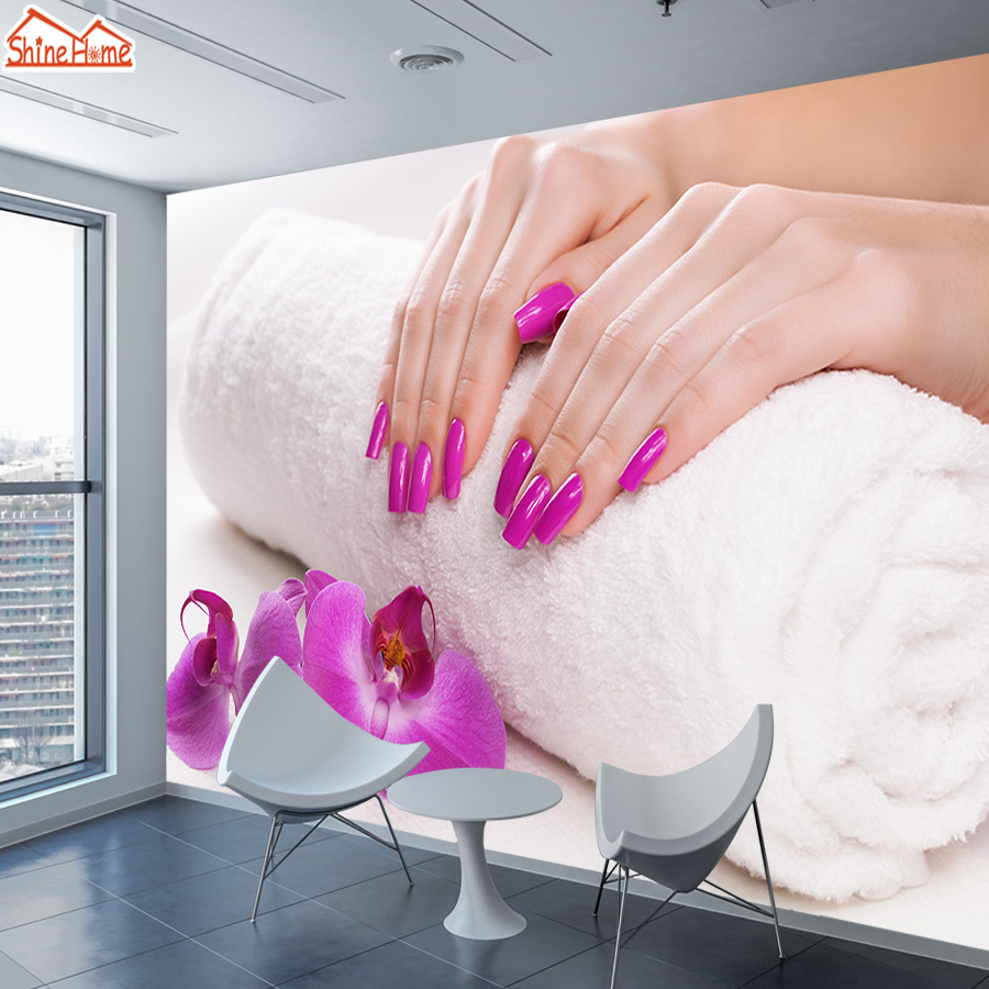 ShineHome-Custom Wall Paper Wallpapers For 3 D Living Room Mural Rolls Nail Beauty Salon Wallpaper Sofa Shop Store Home Decor