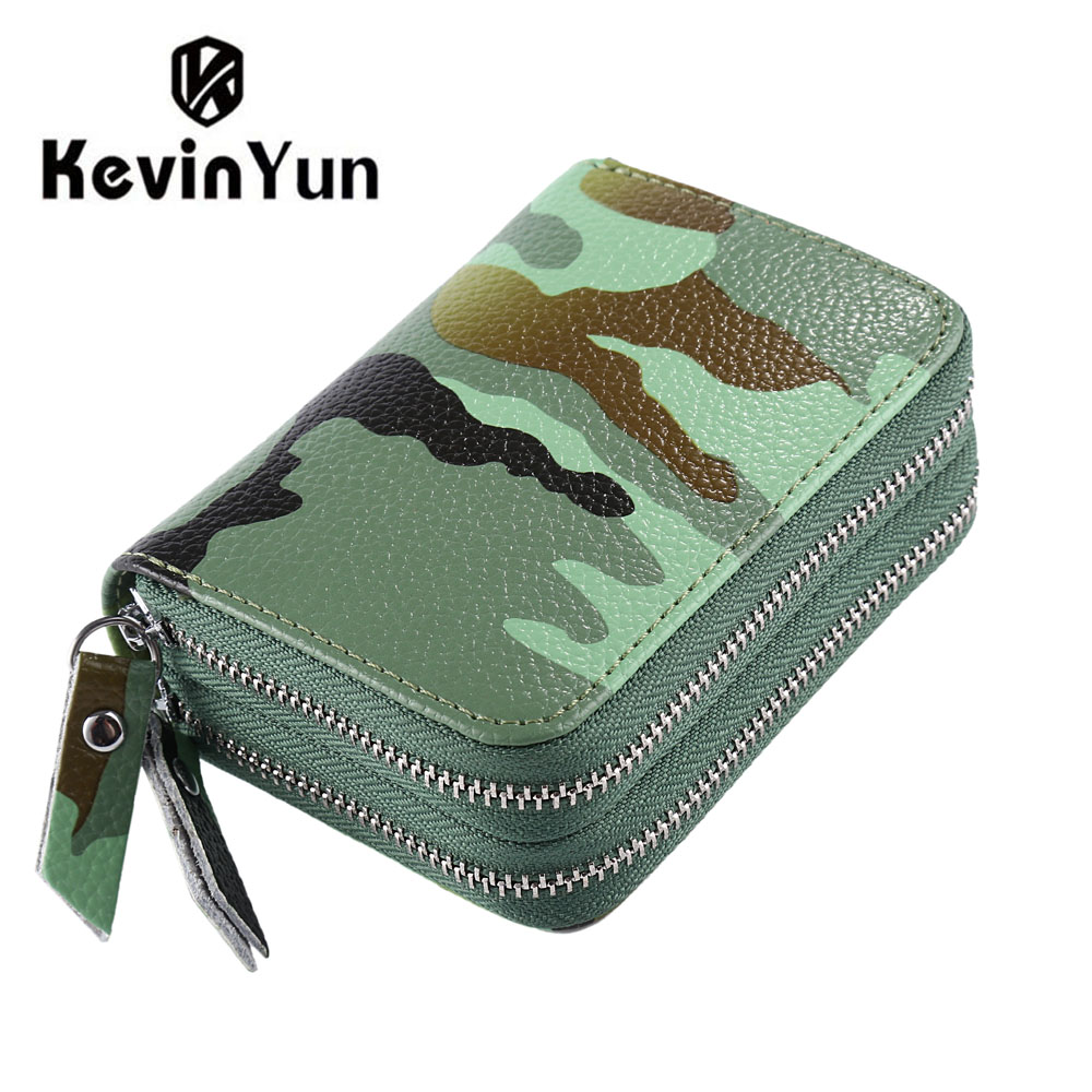 KEVIN YUN Designer Brand Fashion Camouflage Printed Women Card Holder Split Leather Large Capacity Credit Card Case Wallet
