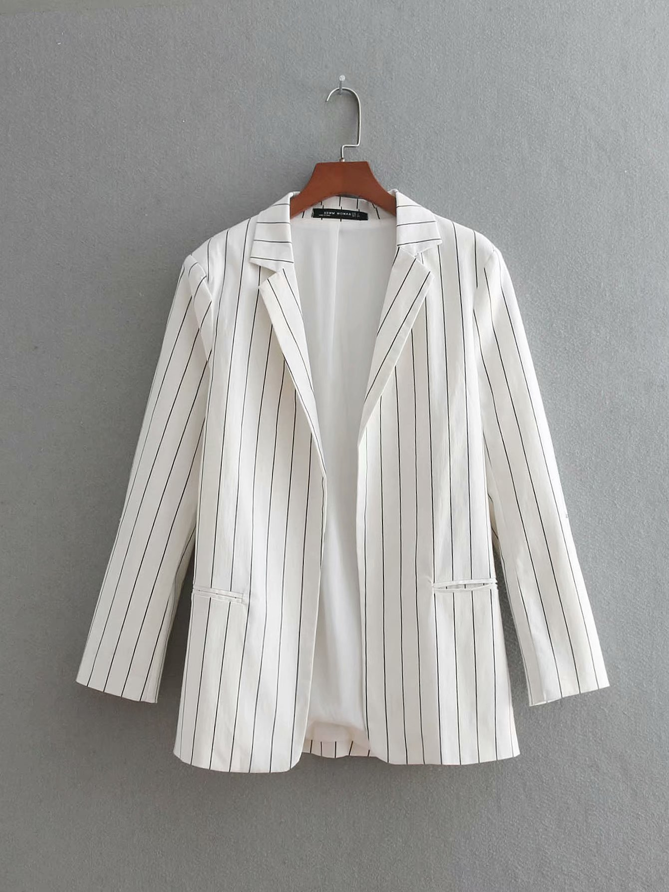 Set female 2018 autumn new temperament fashion loose striped small suit jacket + trousers elegant two-piece casual women