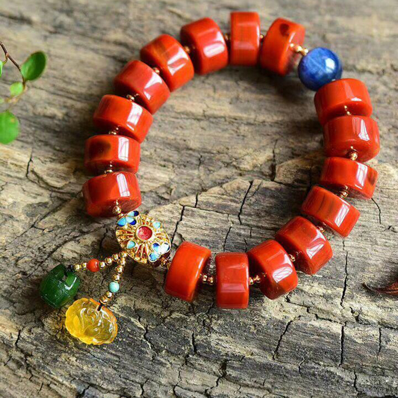 Fine JoursNeige South Red Natural Stone Crystal Bracelets Bucket Beads With Roasted Blue Lucky for Women Wrist Bracelet Jewelry pure handmade string beads beads bracelets tassels roasted blue flower accessories amber beaded bracelet factory wholesale