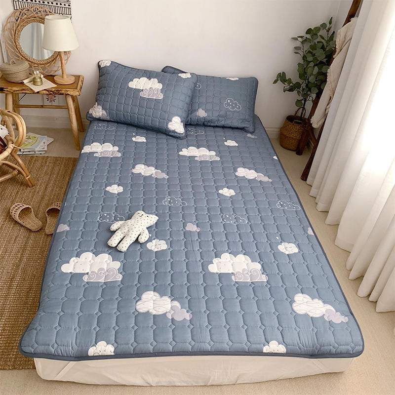 1 Pc Quilted Mattress Pad Machine Washing Non-slip Bedspread Single Queen King Printed Kids Bed Pad Mattress