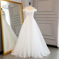 QSYYE Elegant Lace Wedding Dresses 2018 Off The Shoulder Sweetheart White Tulle Sweep Train Cheap Bridal