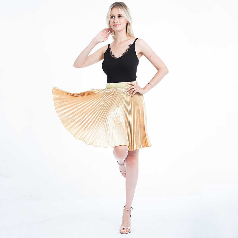 c24872028d3730 Women Chiffon Pleated Skirts Fashion Women s High Waist Tutu Pleated Gold  Color Big Swing Skirt Summer