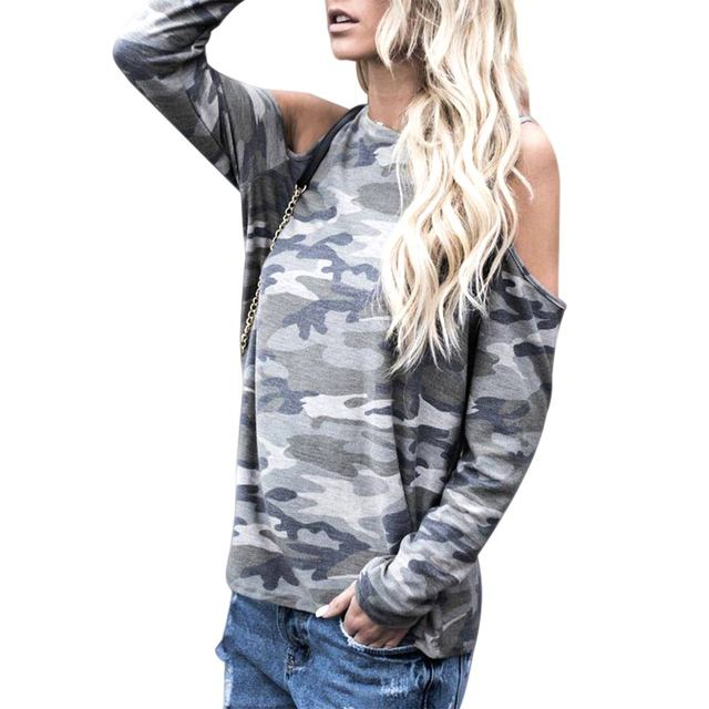 Women Sexy Long Sleeve Off Shoulder Camouflage T-shirt Casual oose T-shirts Spring Autumn Tops FS99 5