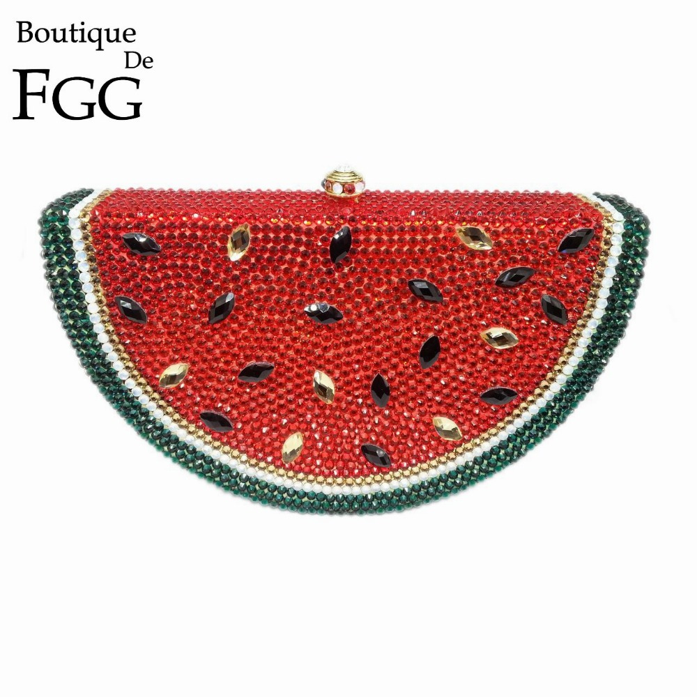 Gift Box Fruit Watermelon Bag Clutch Handbag Crystal Clutches Women Evening Bags Rhinestones Purses Diamond Bridal Wedding Purse yuanyu 2018 new hot free shipping real python leather women clutch women hand caught bag women bag long snake women day clutches