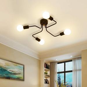 Image 3 - Multiple Rod metal chandelier Vintage Iron Ceiling Lamp Edison E27 Bulb Lamparas for Home Lighting Fixture Nordic Kitchen island