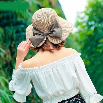 Women's Sun Hat Big Bow Wide Brim Floppy Summer Hats For Women