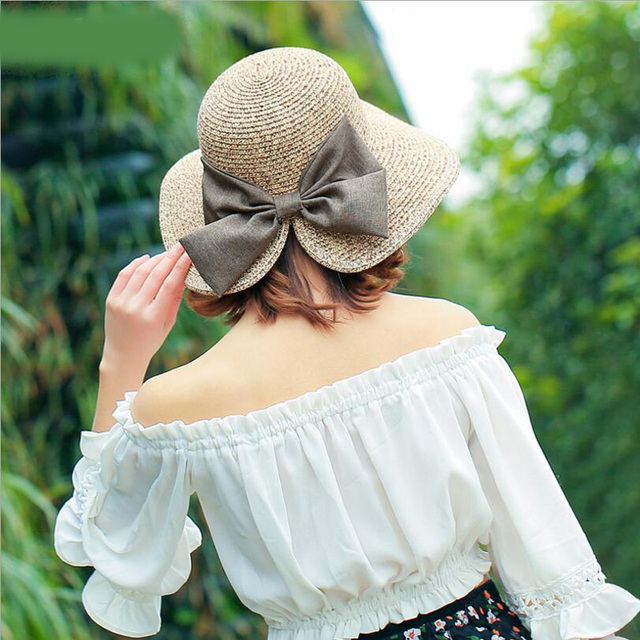 f11ef7fdc681c Women s Sun Hat Big Bow Wide Brim Floppy Summer Hats For Women Beach Panama Straw  hat Sun Protection Visor Femme Cap