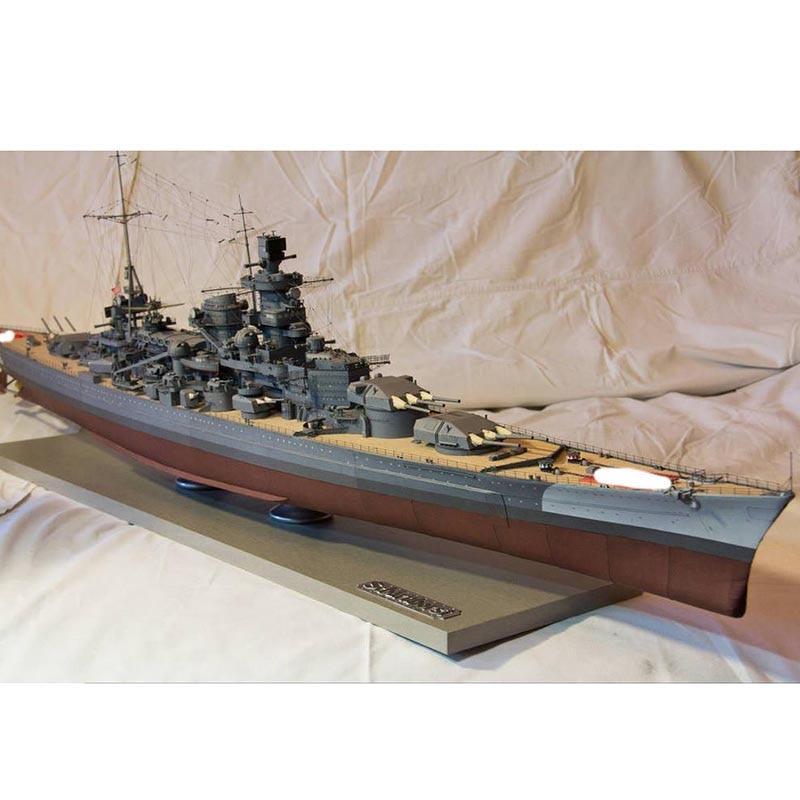 1:700 Craft Battleship Gneisenau Wooden Deck Ship Assembly Cruiser DIY Accessory