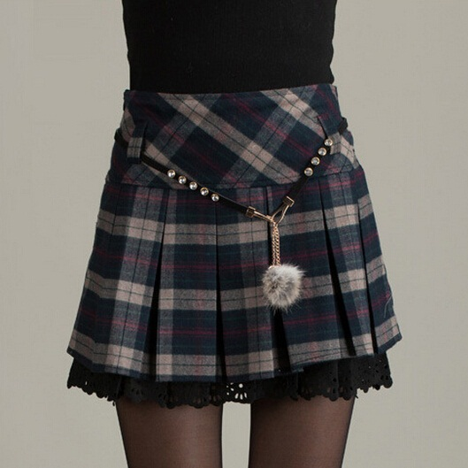 Зимние юбки женские новые Модные осенние классические открытые кружевные теплые Плиссированные Мини Короткие Клетчатые Шерстяные Юбки - Цвет: Gray Plaid Skirt