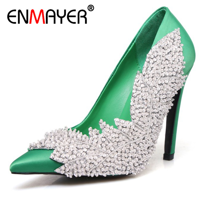 ENMAYER Stain Pumps Shoes Woman Shallow High Heels Pointed Toe Plus Size 34-43 Party Wedding Shoes Black Office Ladies Shoe