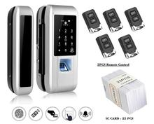 Glass Door Lock Office Keyless Electric Fingerprint Lock With Touch Keypad Smart Card Remote Control Key Door Lock