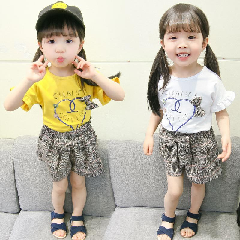 kids clothes T-shirt + Plaid Shorts Set Baby Girl Clothes Summer Cartoon Shorts Baby Clothes Beach Girl T-shirt S ...