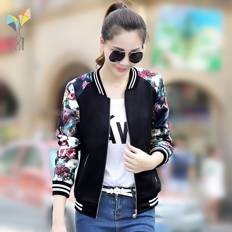 Fashion Casual women Autumn lady   Jacket   big size Slim Fit Coat autumn slim Cloth coat Long Sleeve Zipper Baseball   Basic     Jacket