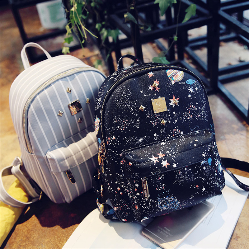 New College Wind Stripe PU Leather Women Backpacks Korean Preppy Style 3D Digital Print Bags