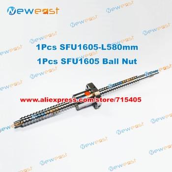 Hot Sale # 1Pcs Ball screw SFU1605 - L580mm+ 1pcs RM1605 Ballscrew Ballnut for CNC and BK/BF12 standard processing