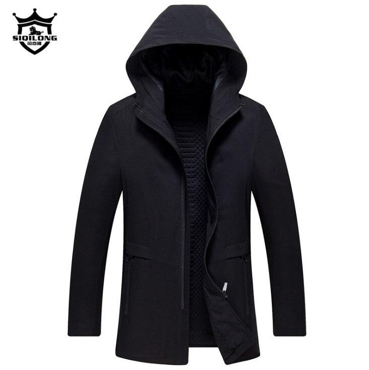 2018 New Brand Long Hooded   Trench   Coat Men Thicken Jackets & Coats Spring Zipper Mens Windbreaker Casual Overcoat