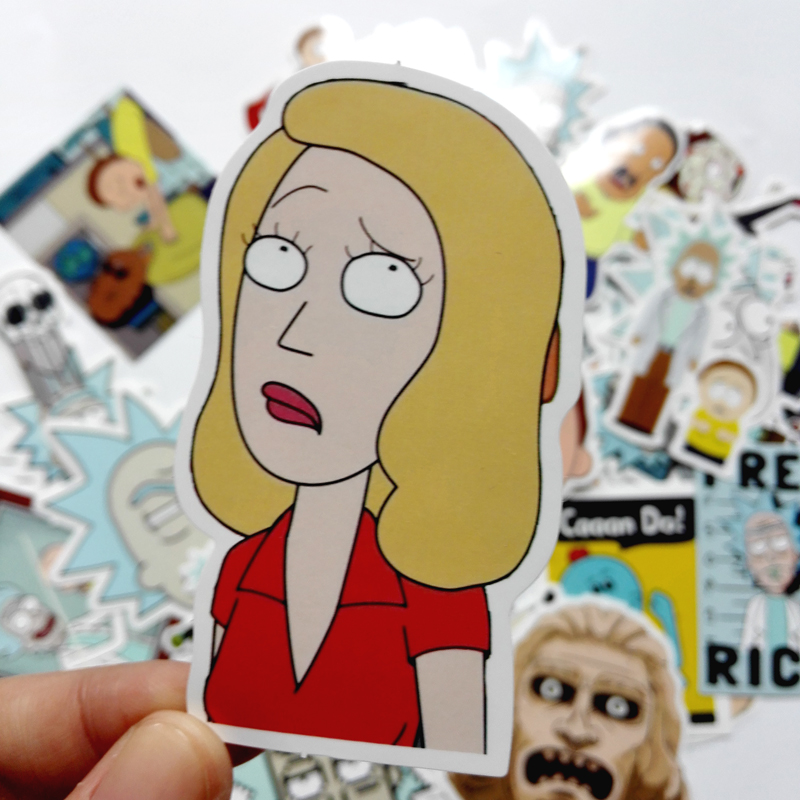 TD ZW 2019 35Pcs lot American Drama Rick and Morty Stickers Decal For Snowboard Luggage Car Fridge Car Styling Laptop Stickers in Stickers from Toys Hobbies