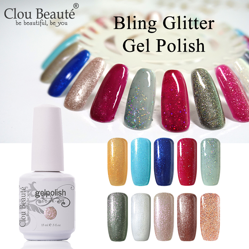 Clou Beaute Bling Glitter Uv Nail Gel Polish Vernis Semi Permanent
