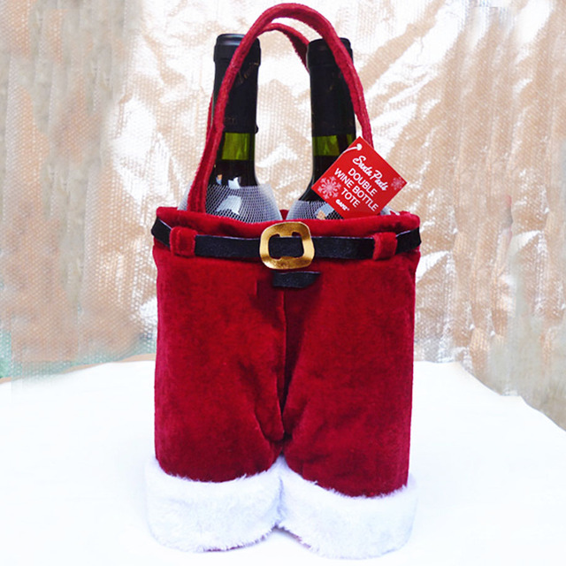 free shipping christmas santa claus double wine bottle tote bag gift bags decoration 36cm