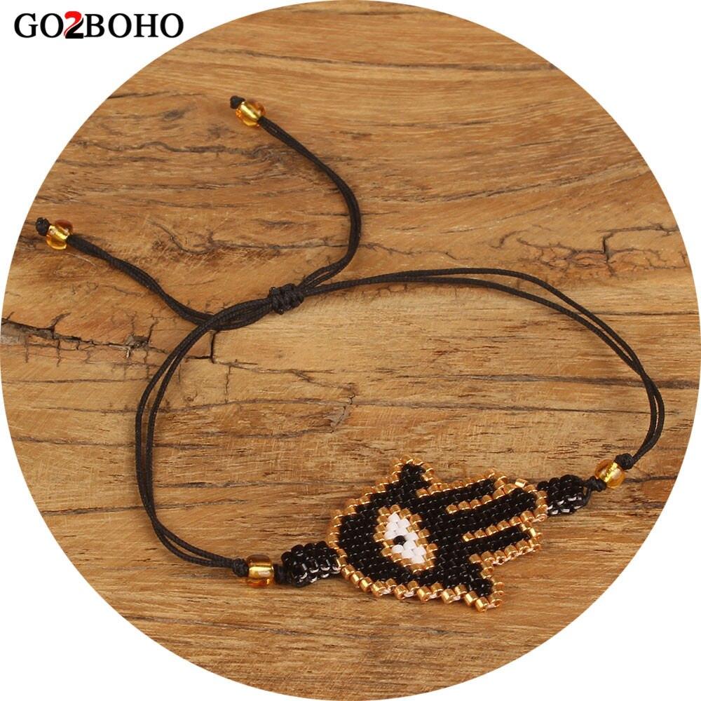 Go2boho Dropshipping MIYUKI Bracelet Black Hamsa Hand Bracelets Big Evil Eye Seed Beads Bangles Friendship Jewelry Women Gifts(China)