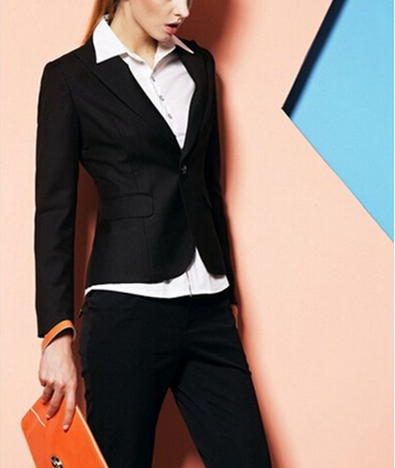 New Black 2 Pieces Womens Suits Work Wear Formal Blazer Set Office Business Coat&Pants B265