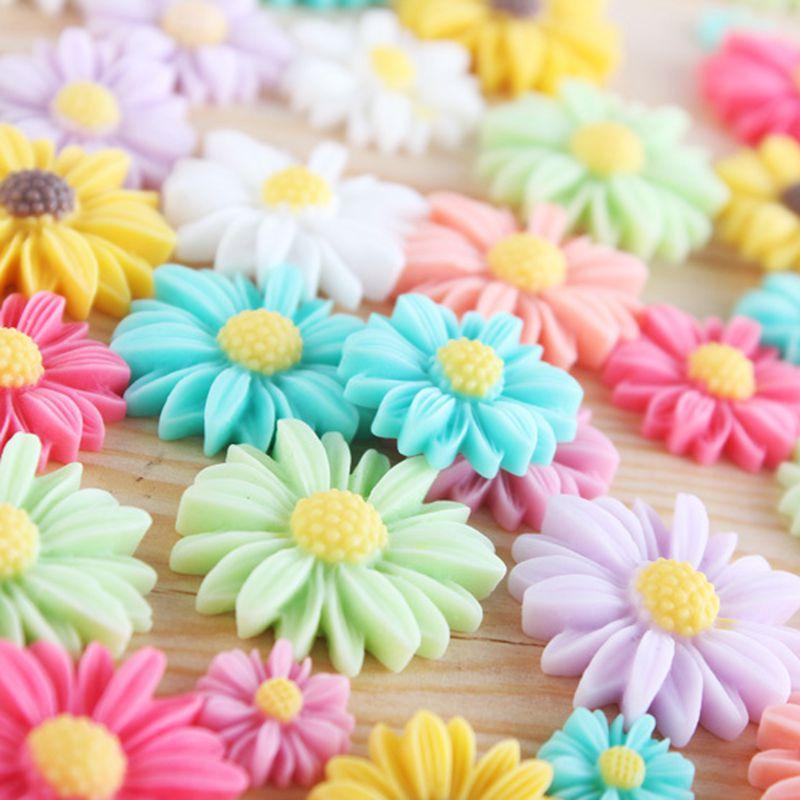 Free Shipping 100 Random Mixed Daisy Flower Resin Flatback Cabochon Scrapbook DIY Phone Shell /Hair Decoration 27mm 009005017