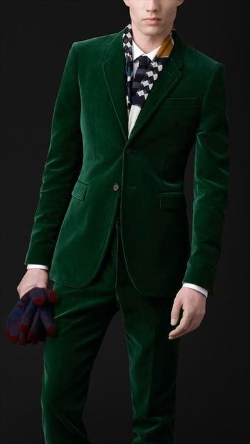 Sur-Mesure-Velours-Vert-Fonc-Hommes-Costumes-Slim-Fit-Formelle-2-Pi-ce-Blazer-Mari-Robe