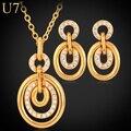 U7 collar fijó para las mujeres chapado en oro rhinestone joyería de moda collar de moda pendientes joyería fija el partido s515