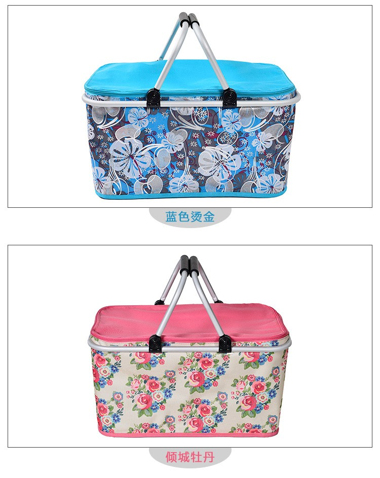 Aluminum Alloy Foldable Cooler Bag Basket Thermal Food Box Cans Fruit Storage Picnic Lunch Insulation Tote Cool Bag Package (6)