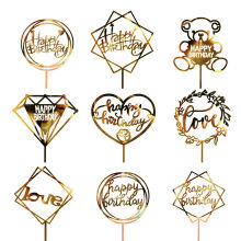 1pc Wedding Party Cake Topper Decoration Happy Birthday Card Banner Acrylic DIY Decor