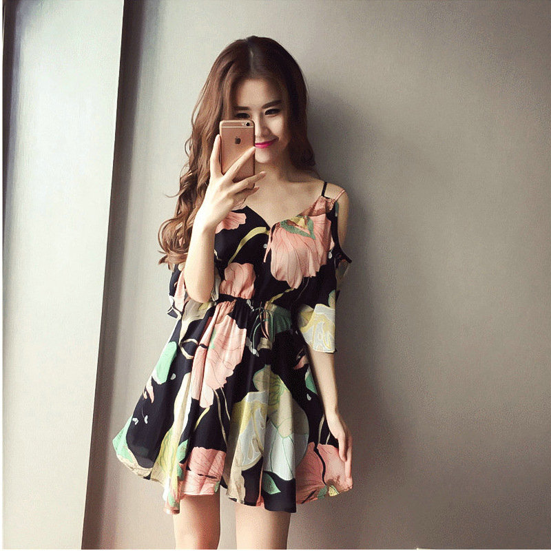 2017 summer dresses floral print V-neck mini casual dress women Bohemian hippie chic vestidos ladies clothing