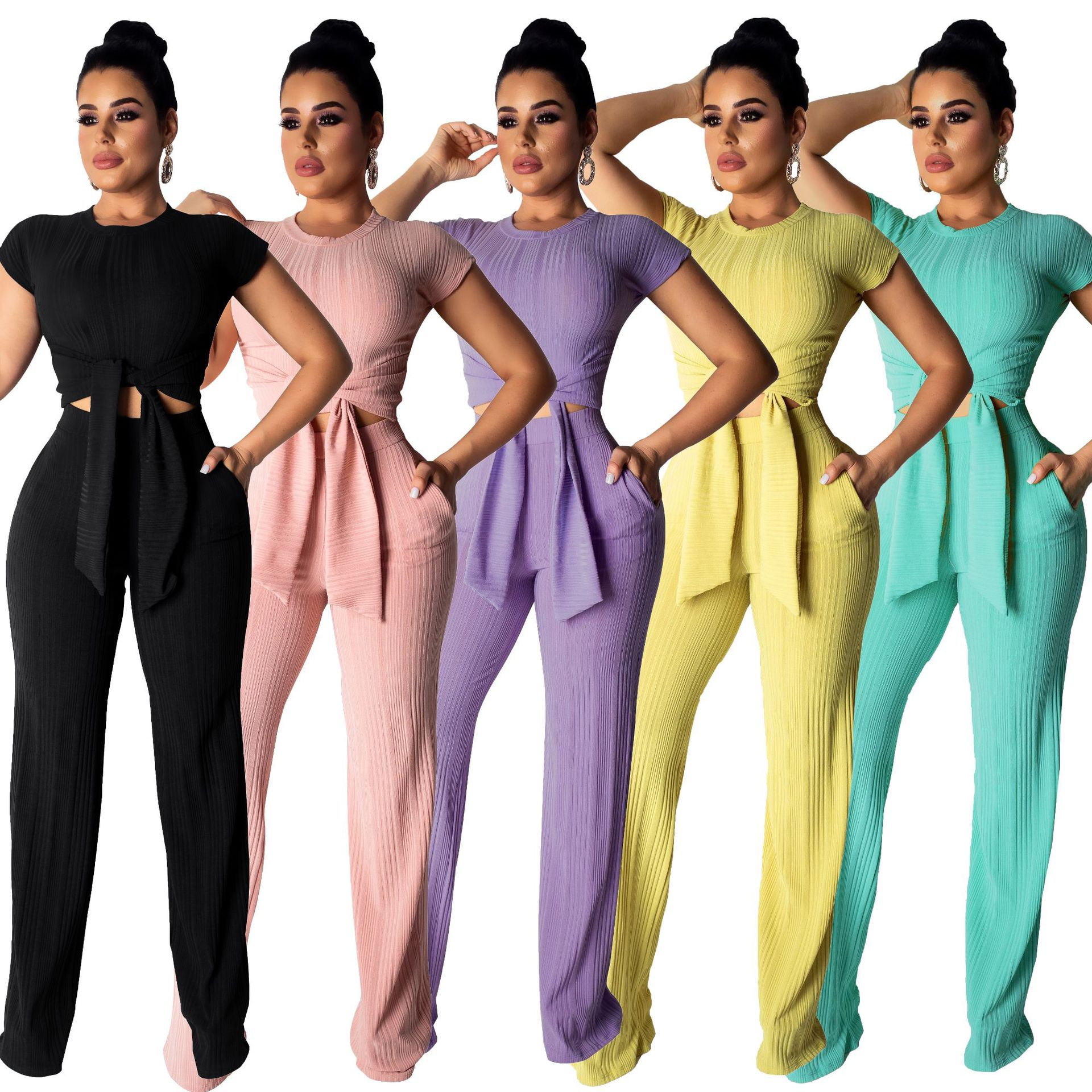 New Ensemble Femme Casual Two Piece Set Women 2019 Spring Summer Short Sleeve O Neck Tops And High Waist Pants Suits Clothing