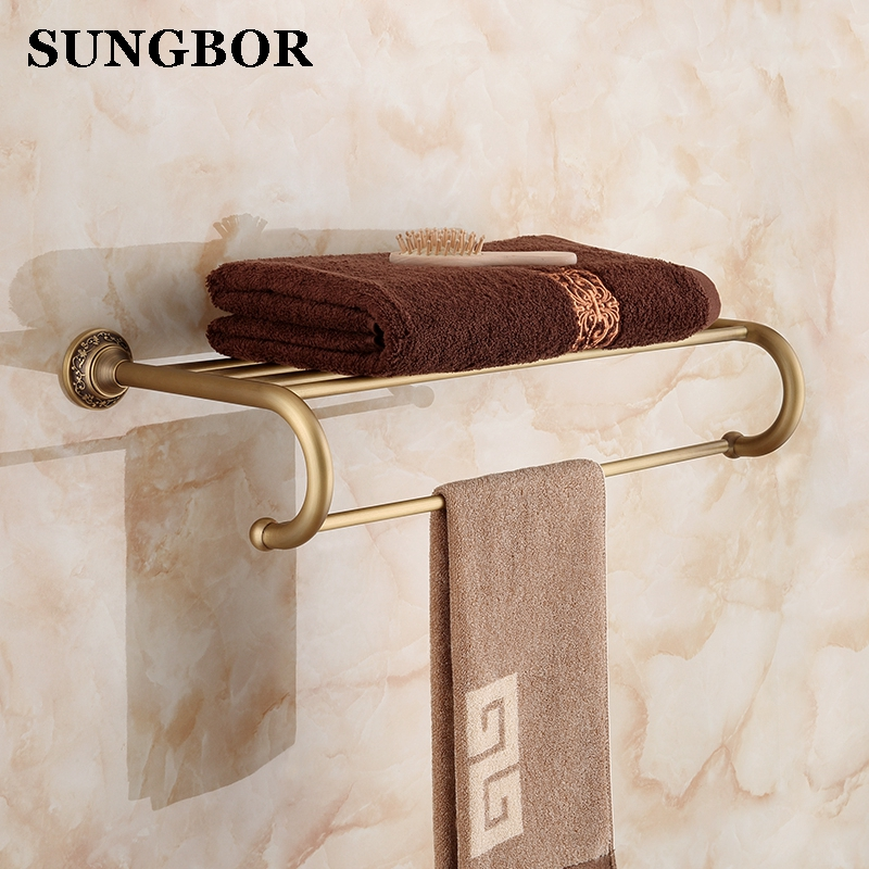 European style Art Antique Brass Wall Mount Bath Towel Rack Bathroom Towel Holder Double Towel Shelf Bathroom Accessories 8612 okaros bathroom double towel bar 60cm towel rack towel holder solid brass golden chrome plating bathroom accessories