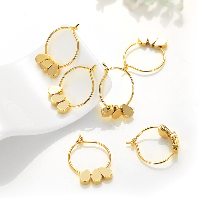 a13af2498ee3d US $3.87 14% OFF|(59) 4PCS 16x23MM 24K Gold Color Plated Brass Earring Hoop  with 3 Drop Beads High Quality DIY Jewelry Making Findings-in Jewelry ...