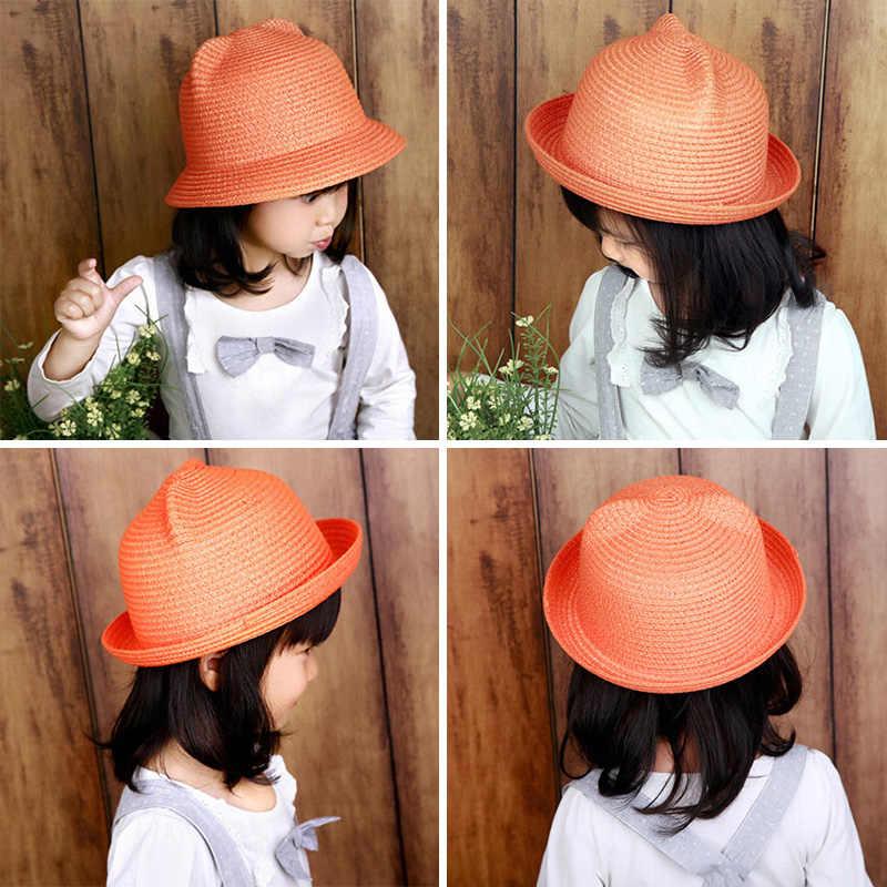2dd703495d0 ... MOLIXINYU Fashion Ears Straw Hats Baby Hats For Girls Bucket Hat Boys  Cap Children Sun Summer