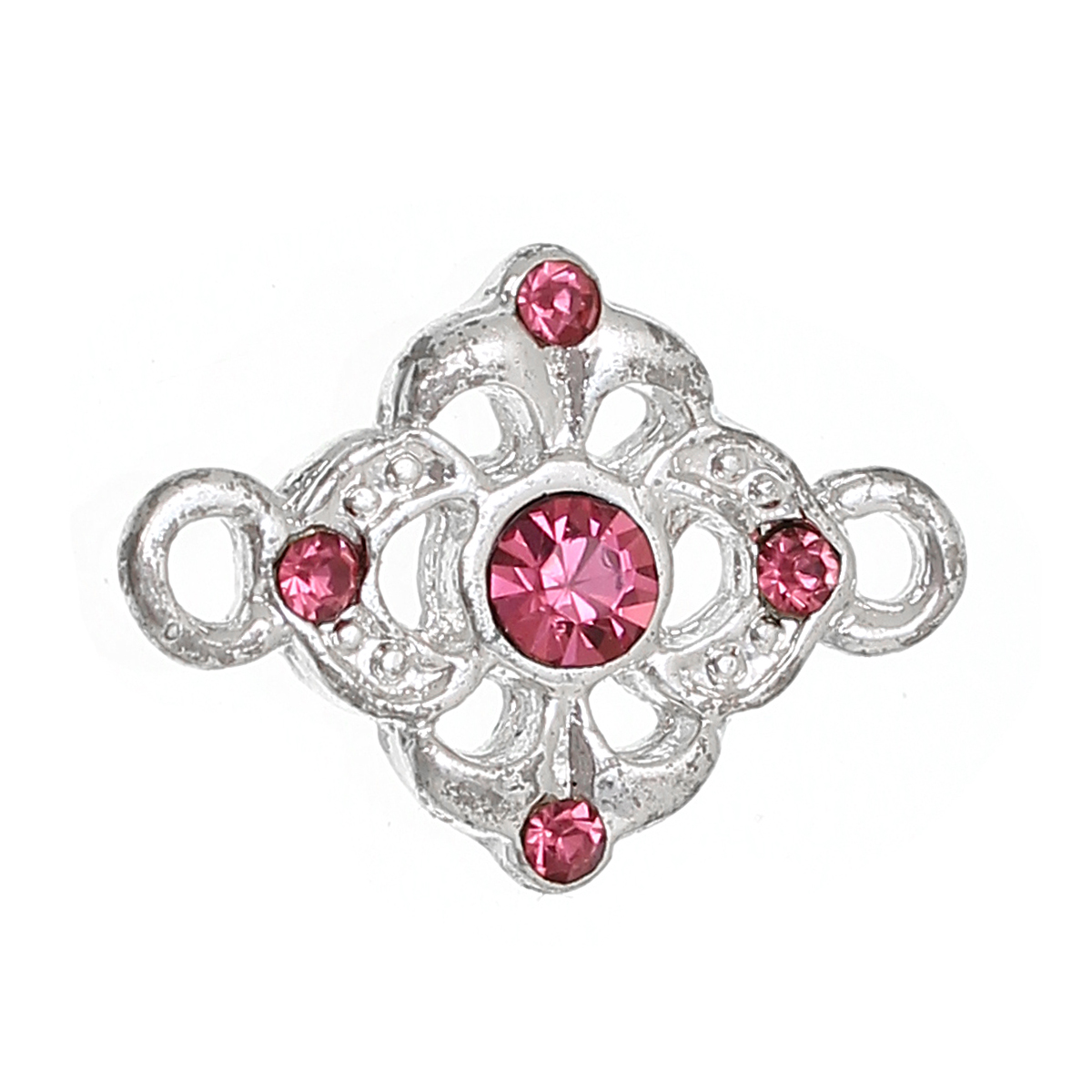 DoreenBeads Zinc Alloy Connectors Findings Flower Silver Color Hollow Deep Pink Rhinestone 18mm(6/8
