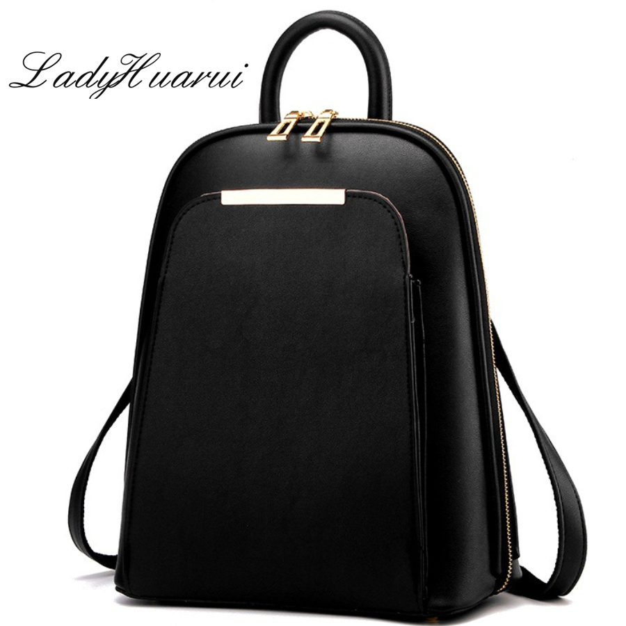 Fashion cute  backpack women 2017 black High Quality back pack brand school bags for teenage girls gold PU bagpack Q3