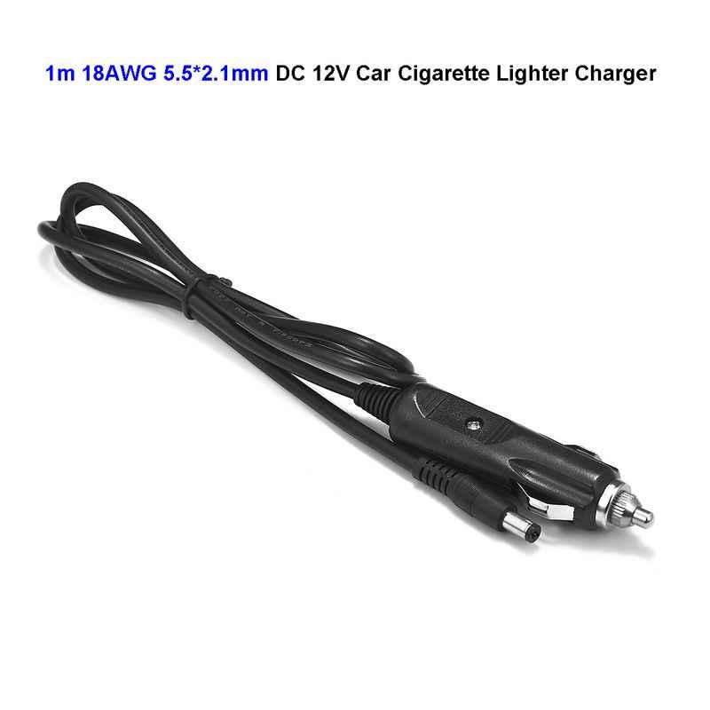 12V DC 5.5 x 2.1mm Car Cigarette Lighter Power Adapter 18AWG 1m Cable For Air Compressor Pump Car Washer Car Truck Bus Van Boat