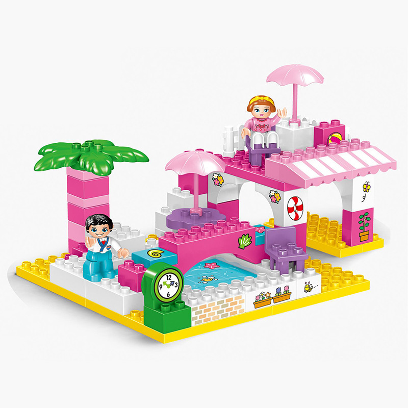 80pcs /Friends Building Block Toys Swimming Pool Educational Brick Toys Figure Gift for Girls Series Compatible Duploe Baby Toys