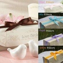Свадебные сувениры и подарок 400 набор = 800 шт любовь птицы соль и перец шейкер с разноцветными лентами