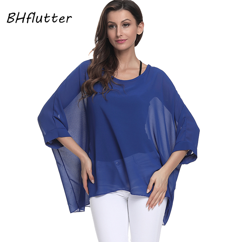 Bhflutter Plus Size 2018 Women Tops Tees Batwing Sleeve Casual Loose