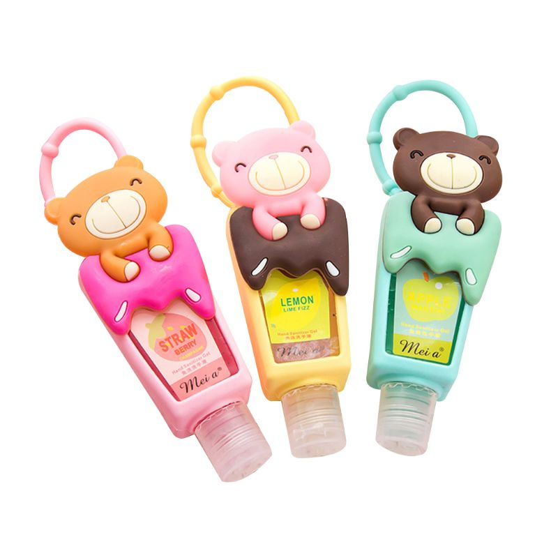 US $1 48 28% OFF|Cute Cartoon Bear Silicone Embossed Mini Hand Sanitizer  Disposable No Clean Detachable Cover Travel Portable Hangable Fruit Scen-in