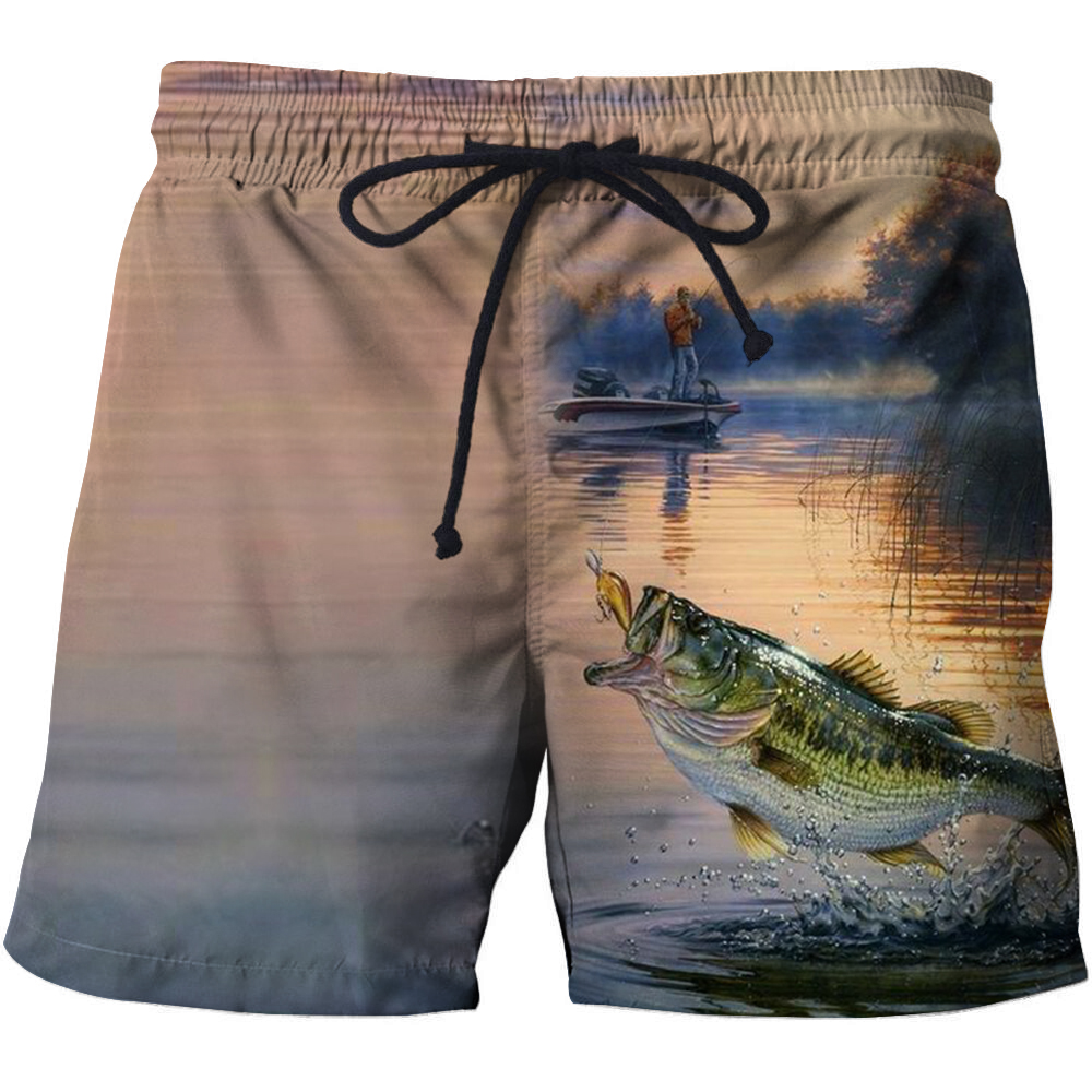 Fish 3d printed men's casual fashion swimming   shorts   surf wear   board     shorts   2018 summer bathing suit wooden   shorts   s-6xl   shorts