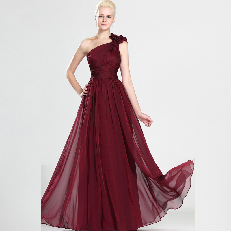 Gasa Vestido De Noche Largo Vino Rojo Un Hombro Plisado De