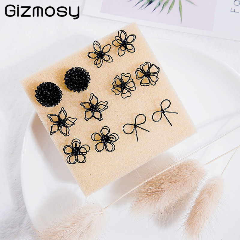Cut Out Double Layer Small Earrings Flower Shape Stud Earrings Fashion Jewelry Women's Accessories Black Korean Style SY5109